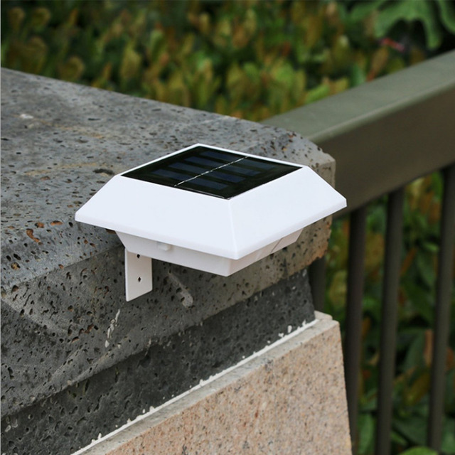 New Version 4 Led Outdoor Square Wall Mounted Solar Light Ip45 Waterproof Motion Sensor Garden Path Fence Lamp Quality In Lamps