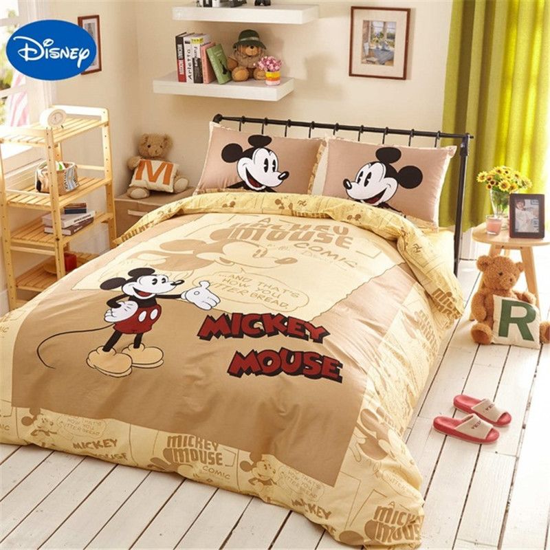 Disney Authentic Mickey Mouse 3D Printed Bedding Set for Boys Bedroom Decor Cotton Bed Sheet Duvet Cover set no Filler bed sheet
