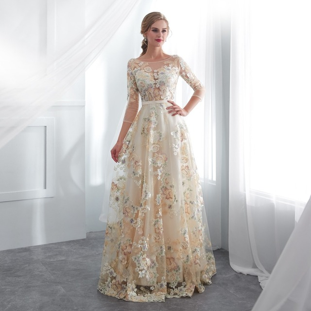 Floral Prom Dresses Walk Beside You Lace 3/4 Sleeves A-line Champagne Belt Empire Waist Long Evening Gowns Vestido De Formatura 5