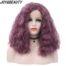 JOY&BEAUTY 16 Inch Purple Color Synthetic Lace Front Wig Kinky Curly Medium Long Wigs High Temperature Fiber For Women adiors long curly side bang high temperature fiber wig
