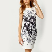 Women Lady's Pencil Dress Sexy Bodycon Dresses Female Watercolor Robe White Sleeveless Vintage Print Mini Dress