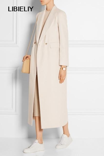 20217354c6d Élégant nouveau Manteau Femme Nice automne hiver femmes blanc Simple cranté  revers laine Maxi Long Manteau