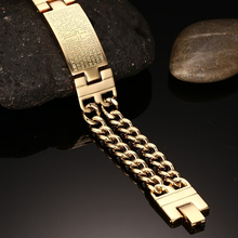 Vinterly Yellow Gold Color ID Bracelet Men 316l Stainless Steel Jewelry Cross Double Hand Chain Men Bracelets & Bangles For Male