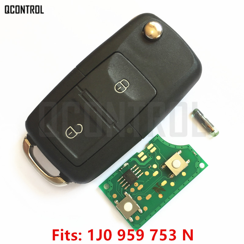 QCONTROL Car-Remote-Key 2003 OCTAVIA SKODA 2001 1999 FABIA 2004 2008 2007 For 1j0959753n/1999/2000/..