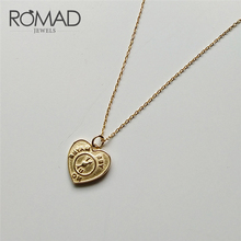 ROMAD Geometric Square Love Heart Pendant Necklace 925 Sterling Silver Fashion Jewelry Chain For Women Gift R2