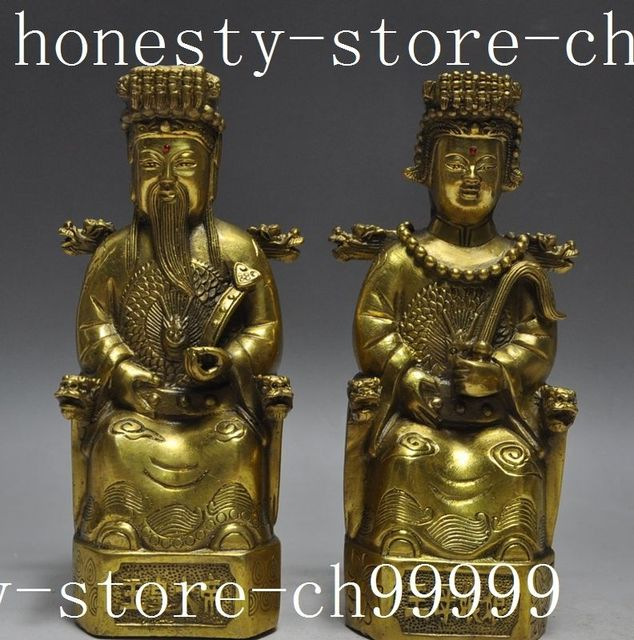 crafts statue bronze brass chinese myths god queen mother jade emperor heaven couples statues halloween - Halloween Statues