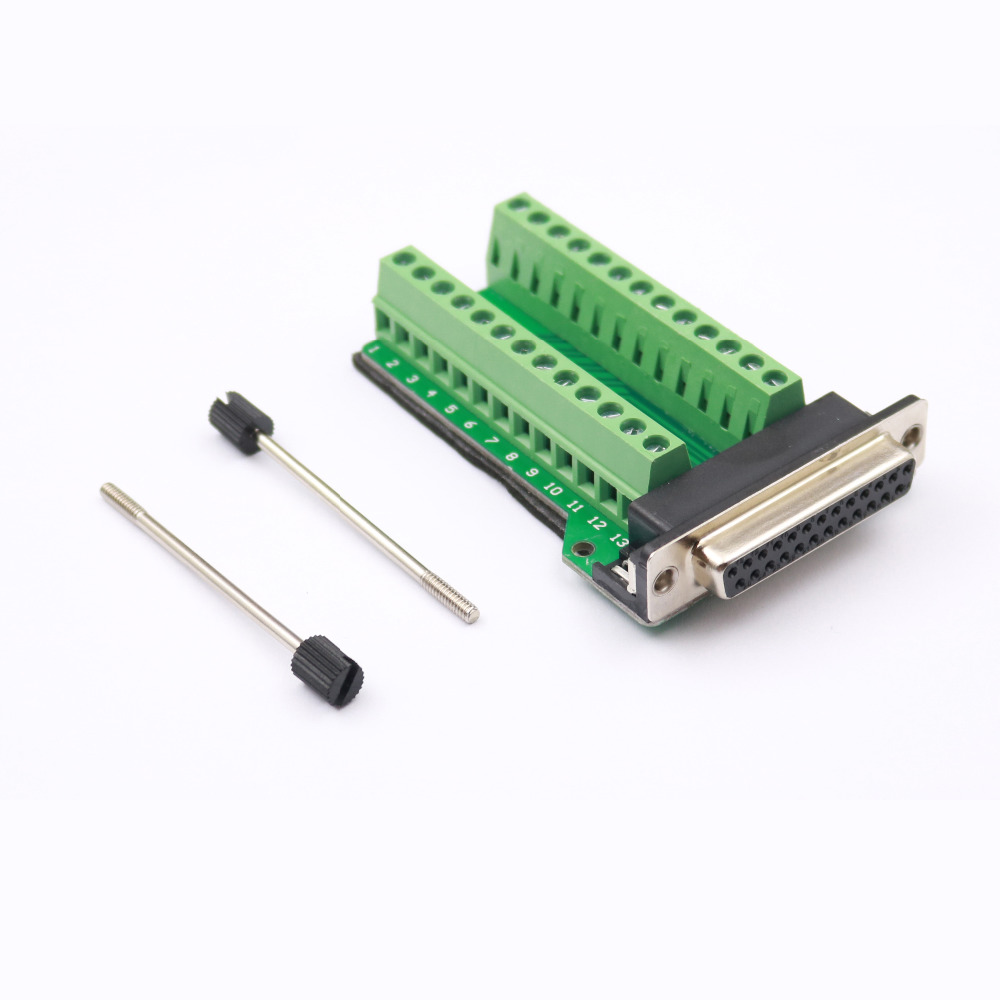 Free Shipping 1Pc D-SUB DB25-M1 Female 25Pin Plug Breakout To PCB Board Terminals Connectors With Threaded Rod d sub connectors db25 25pin female adapter board rs232 serial to terminal signal module