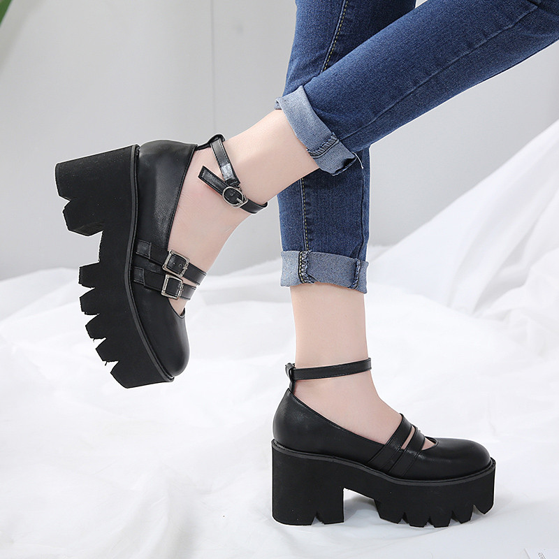 YMECHIC 2019 Summer Gothic Platform Womens Shoes Chunk High Heels Pumps Buckle Ankle Strap Punk Rock Party Creepers Shoes Woman