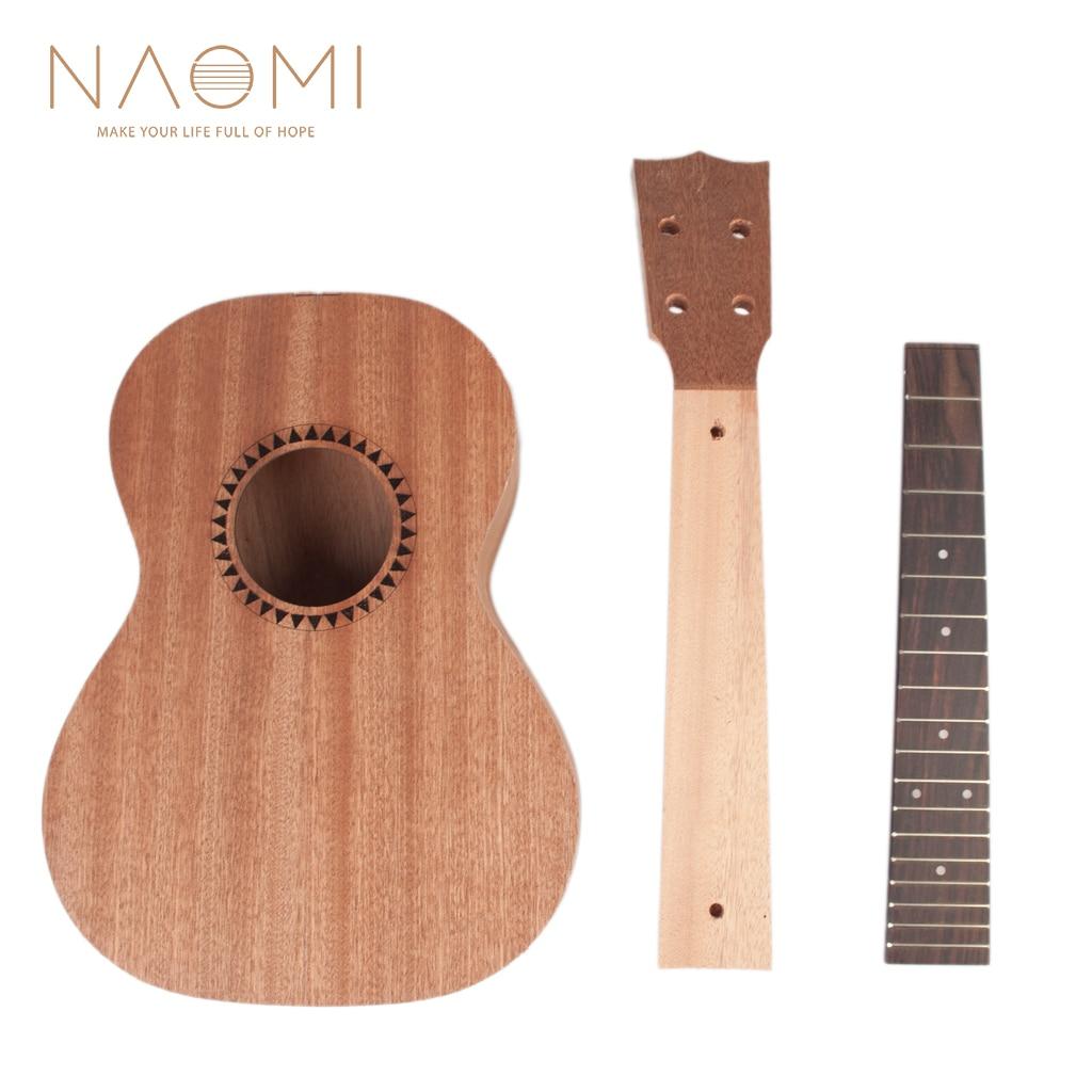NAOMI DIY Ukulele 26in Ukelele Hawaii Guitar DIY Kit Sapele Wood Body Rosewood Fingerboard Ukulele Parts