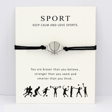 Basketball Volleyball Baseball Softball Soccer Ice Hockey Tennis Sports Charm Card Bracelets Women Men Jewelry Gift Custom Color