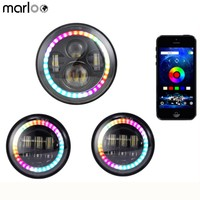 Marloo 1 Set Bluetooth Control RGB Halo 7inch LED Headlight Harley Daymaker 4.5 Fog Lights Fit Harley Touring Road King CVO