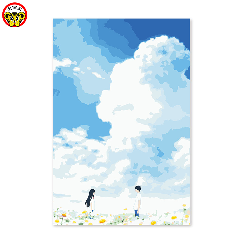 Male and female friends summer day God domain white cloud grassland cartoon diy digital oil painting handwork
