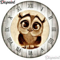 """Dispaint Full Square/Round Drill 5D DIY Diamond Painting """"Owl clock scenery"""" 3D Embroidery Cross Stitch 5D Home Decor A11465"""