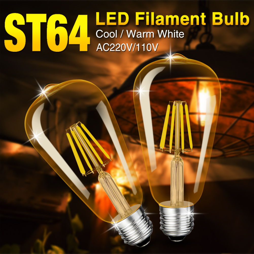 TSLEEN Free Shipping! 4PCS LED Bulb E14 4W 8W 12W 16W AC 220V Retro Antique Glass Edison Lamp Vintage Filament Light 360 Degree retro lamp st64 vintage led edison e27 led bulb lamp 110 v 220 v 4 w filament glass lamp