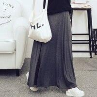 New Spring And Summer Fashion Style Women Skirt Women Elastic Waist Long Ankle Length Skirt Black