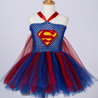 Superhero Inspired Girl Tutu Dress Wonder Woman Batman Superman Cosplay Costumes Photo Props Dress Halloween Birthday