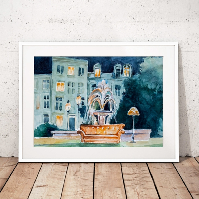 Wall Art Friends TV Show Fontain Watercolor Poster Prints