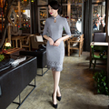 Free shipping Half Quarter Sleeve Suede Fabric China Qipao Dress vintage chinese cheongsam Knee Length Oriental dress 6 Style