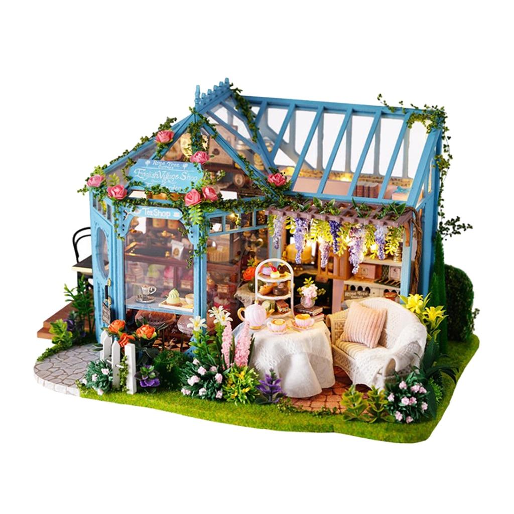 Maison de poupée Miniature bricolage Patio Kit chambre créative avec des meubles pour cadeau romantique-avec mouvement de la musique et des lumières