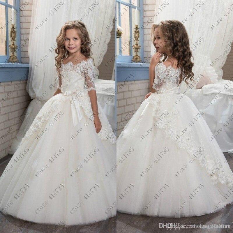 half sleeves 2019   flower     girl     dresses   for weddings lace vestido primera comunion 2-14 ball gowns for   girls