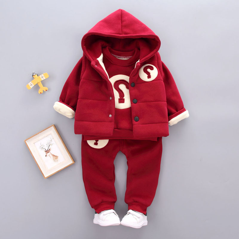 2017 winter Children clothing set baby Girl suit sets Boy's Outdoor sport Kids 3pcs shirts+trousers +vest for 1-4Y