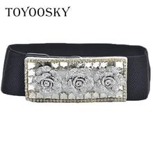 TOYOOSKY Hot Fashion Flower Design Flower Belts Luxury Rhinestone Crystal Wide Belt Lady Fashion Wide Belt Girdle for Women нож автоматический ножемир четкий расклад wasp цвет серый длина лезвия 8 7 см