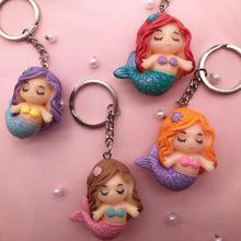 цена на 2019 Hot New 3d Resin Keyring Kawaii Little Mermaid Keyring  Charms Pendant Keychain Charms For Gift DIY Decoration