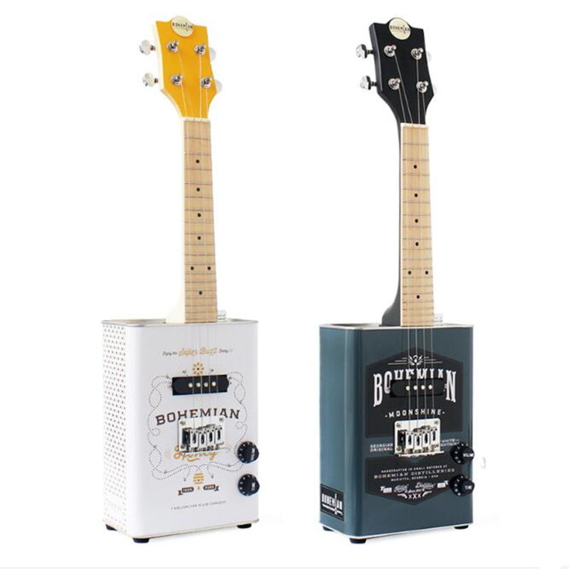 American oil Can electric ukulele personality creative little Mini Electric guitar beginner adult student Ukelele with Case