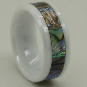 Image 4 - Anillo de cerámica blanco a prueba de arañazos con incrustaciones de concha de perla natural de 8mm de ancho 1 ud.