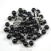 Black Triple Bead Rosary Fashion Chain Rosary Necklace With Silver Palted Eye Pins