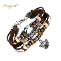Meaeguet Genuine Leather Elephant Charm Bracelet For Men Cool Vintage Style Comfortable Hand Rope Chain Fashion Bangles Jewelry