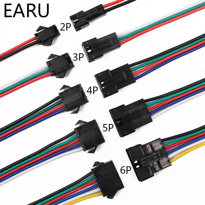 10 Pairs 15 cm JST SM 2 P 3 P 4 P 5 P 6 P Stopcontact Male naar vrouwelijke Draad Connector LED Strips Lamp Driver Connectors Quick Adapter