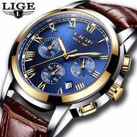 Cuir Reloj Hombre 2019 LIGE montres pour hommes Top marque de luxe montre de Sport pour hommes mode décontracté montre à Quartz étanche