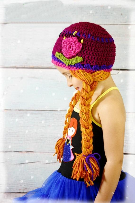 Free Shipping Crochet Tulip Princess Anna Hat Elsa Hat