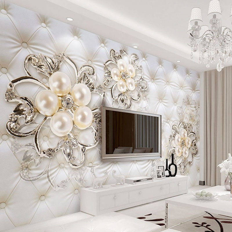 Custom 3D Mural Wallpaper For Walls European Style Soft Pack Diamond Pearl Flower Living Room TV Backdrop Modern Wall Covering