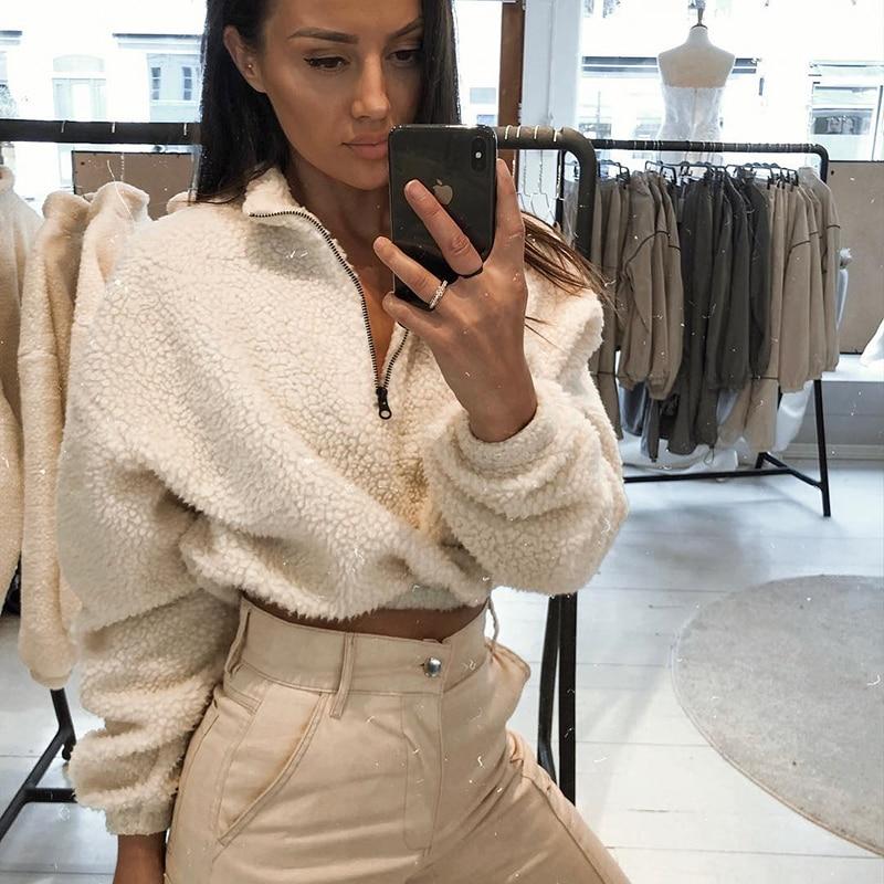 Hugcitar long sleeve zipper high neck Faux lambswool crop tops 2018 autumn winter women fashion solid coat jacket
