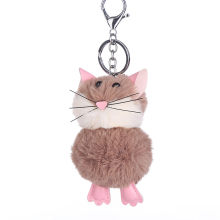 Cute Little Mouse Hair Ball Key Ring Pendant Ladies Bag Car Pendant11.5(China)