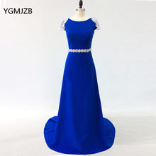 99018ecf7cd Sparkly Evening Dresses Long 2018 Beaded Crystal Boat Neck Open Back Royal  Blue Formal Evening Gowns Prom Dress Robe De Soiree