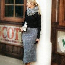 ELEXS Women Winter Long Woolen Skirt Elastic Waist Pencil Skirt Woman Office Skirt Jupe Vintage Femme Autumn E1123