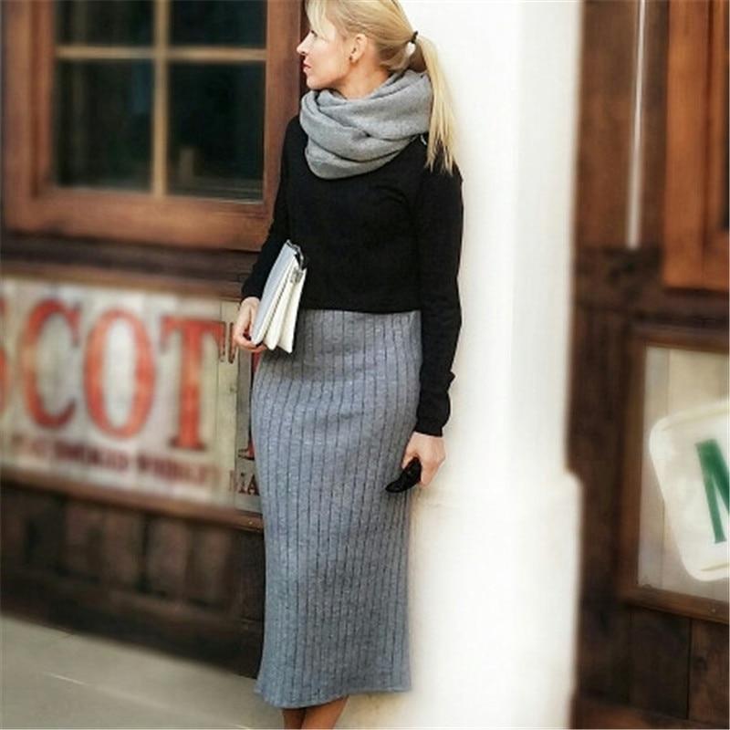 ELEXS Women Winter Long Woolen Skirt Elastic Waist Pencil Skirt Woman Office Skirt Jupe Vintage Femme 1123