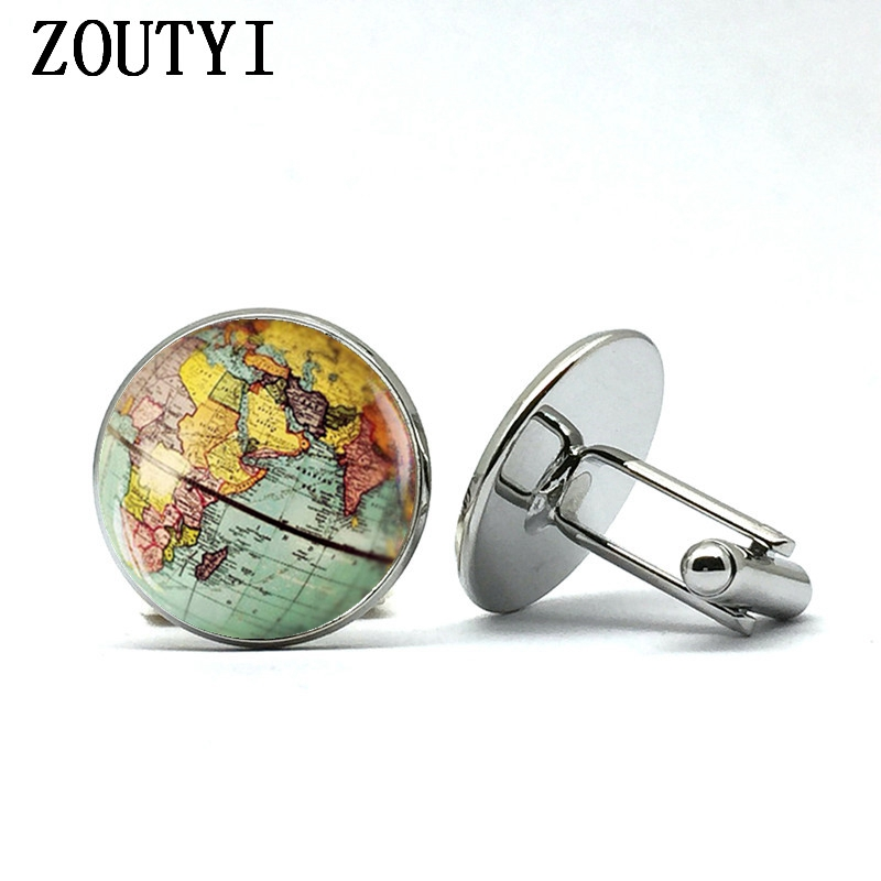 2018/Retro Earth World Map Cufflinks Global Planet Art Photo Crystal Glass Dome Shirt Cuffs