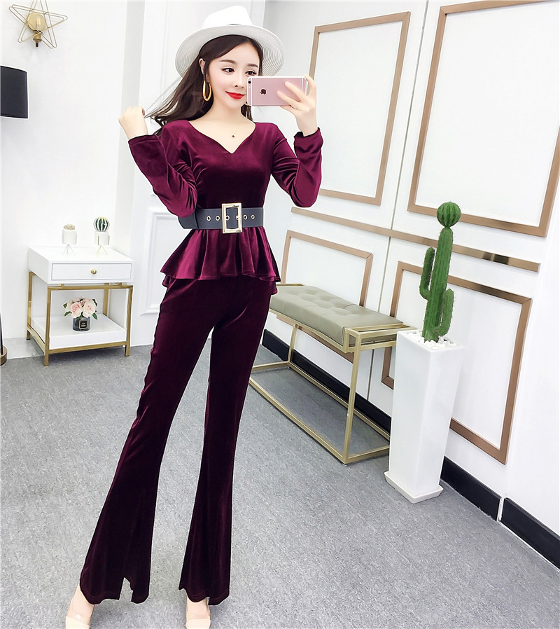 >New Pleuche V-Neck Long Sleeve Blouse Top & Tall Waist <font><b>Split</b></font> <font><b>Pants</b></font> <font><b>Suit</b></font> Korean Fashion Velvet Slim Outfit Women With Belt Vestid