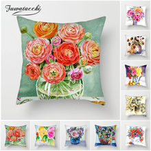 Fuwatacchi Oil Painting Printed Flowers Cushion Cover Rose Sunflower Daisy Pillow for Home Decorative Pillows