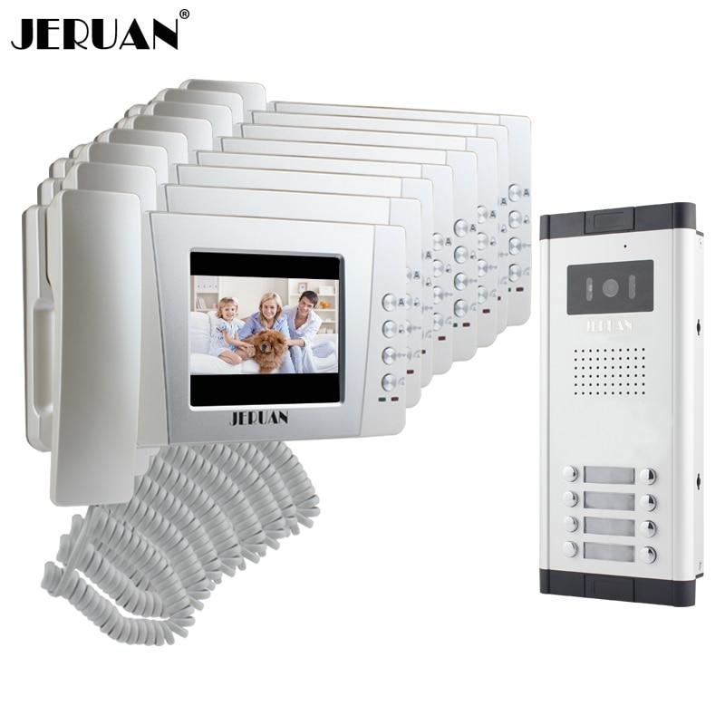 JERUAN Apartment 4.3 inch TFT color Video Door Phone Intercom System 8 Handheld Monitor  ...