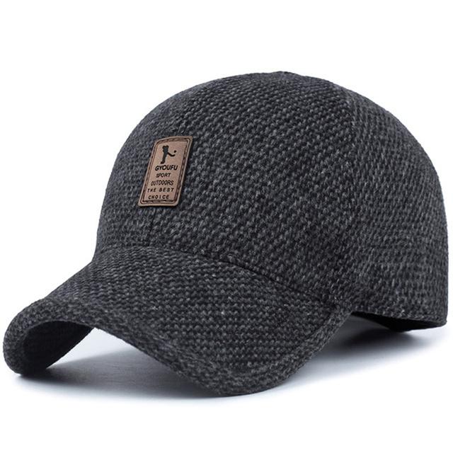 TUNICA wełniana dzianinowa konstrukcja zimowa czapka z daszkiem mężczyźni zagęścić ciepłe czapki z nausznikami tanie tanio Dla dorosłych COTTON Jeden rozmiar Na co dzień Patchwork Regulowany Czapki z daszkiem 64577 55-64cm