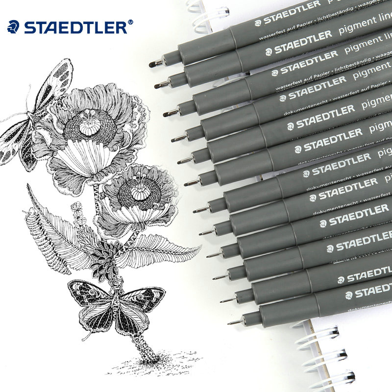 Full Set of Staedtler Black Fineliner Drawing Pens 0 05 2 0mm 12 pcs Office Schoo