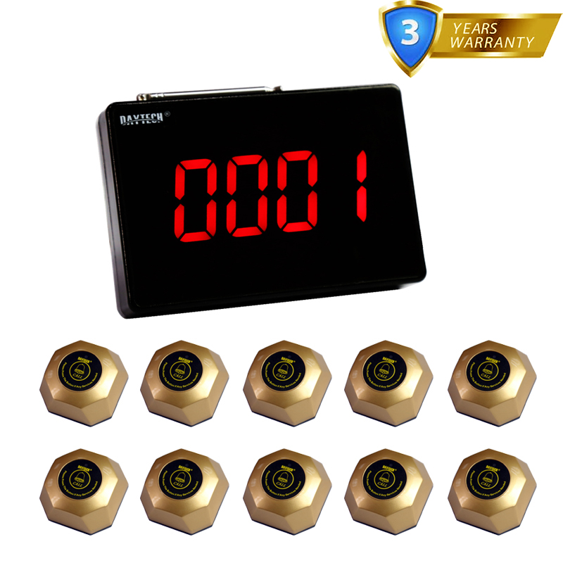 DAYTECH Waiter Calling System Wireless Call Button Buzzer Restaurant Pager 10 Table Bells 1 Display one set wireless system waiter caller bell service 1 watch wrist pager with 5pcs table customer button ce passed