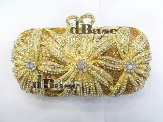 #1518 Crystal Flower Floral Lily Bridal Party GOLD hollow Metal Evening purse clutch bag handbag