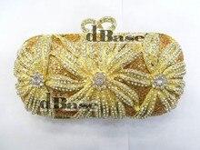 #1518 хрустальный цветок цветочный лили люкс ну вечеринку золота полый металлический вечер кошелек клатч мешка сумки