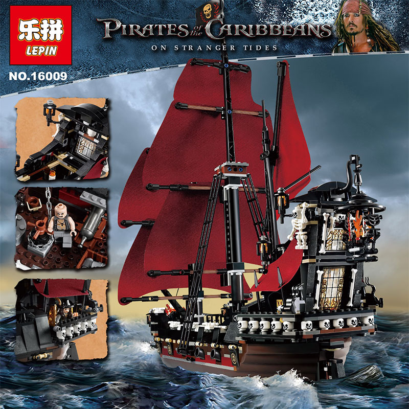 Free shipping LEPIN 16009 1151Pcs Pirates Of The Caribbean Queen Anne's Reveage Model Building Kits  Blocks Brick Toys